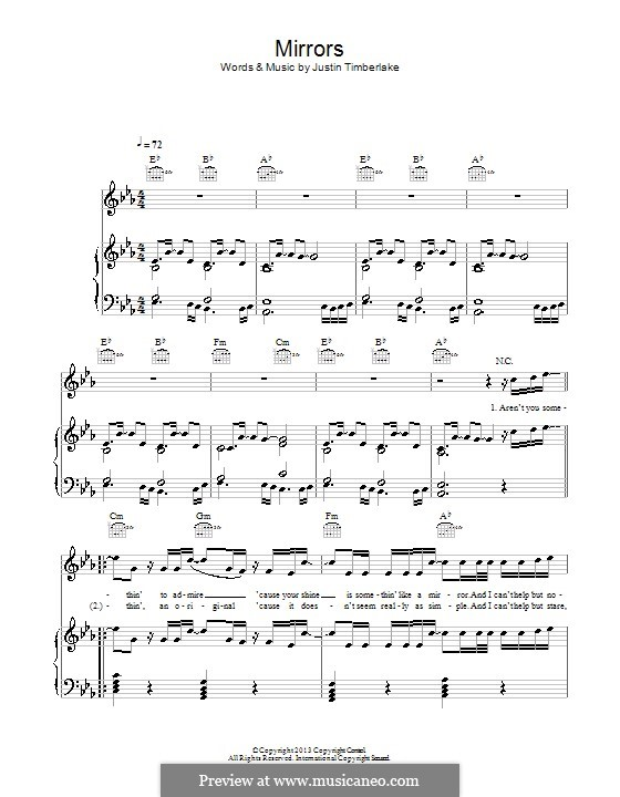 Mirrors: Para vocais e piano (ou Guitarra) by Garland Mosley, James Fauntleroy II, Jerome Harmon, Justin Timberlake, Timbaland, Chris Godbey