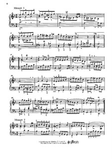 Suite No.1 in D Minor, BWV 812: Two minuets, for piano by Johann Sebastian Bach
