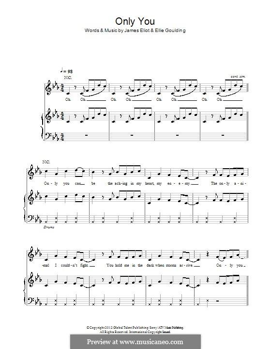 Only You: Para vocais e piano (ou Guitarra) by Ellie Goulding, James Eliot