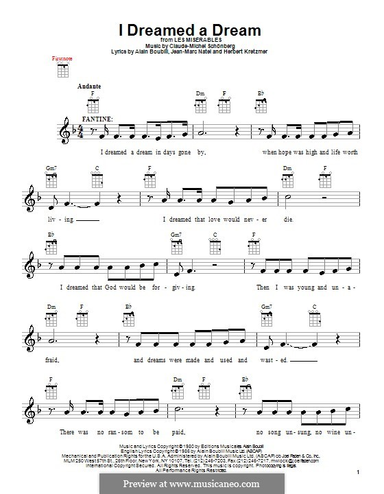I Dreamed a Dream: para ukulele by Claude-Michel Schönberg
