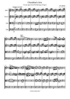 Voi, che sapete: Version for string quartet – parts by Wolfgang Amadeus Mozart
