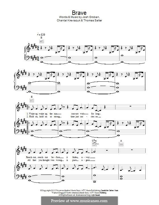 Brave: Para vocais e piano (ou Guitarra) by Chantal Kreviazuk, Josh Groban, Thomas Salter