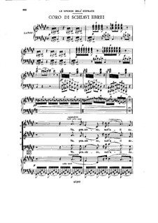 Va' Pensiero (Chorus of the Hebrew Slaves): para vozes e piano by Giuseppe Verdi