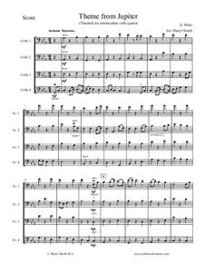 Jupiter: Theme, for four intermediate cellos (cello quartet) by Gustav Holst