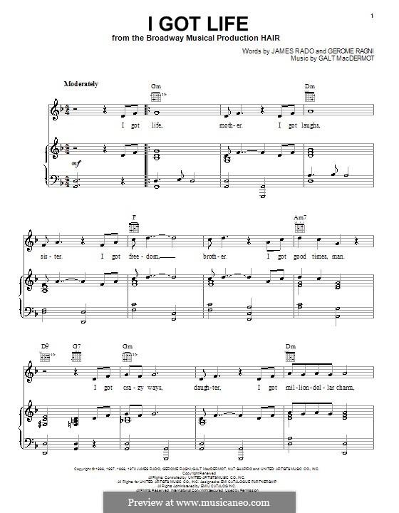 I Got Life: Para vocais e piano (ou Guitarra) by Galt MacDermot