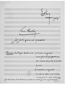 Trio-Fantasy for Flute, Piano and Percussion: Trio-Fantasy for Flute, Piano and Percussion by Ernst Levy