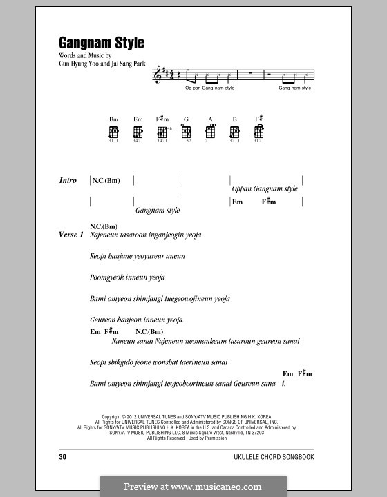 Gangnam Style: para ukulele by Gun Hyung Yoo, PSY