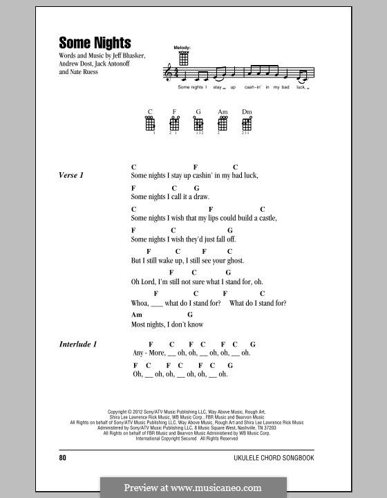 Some Nights (Fun): para ukulele by Jeff Bhasker, Jack Antonoff, Andrew Dost, Nathaniel Ruess