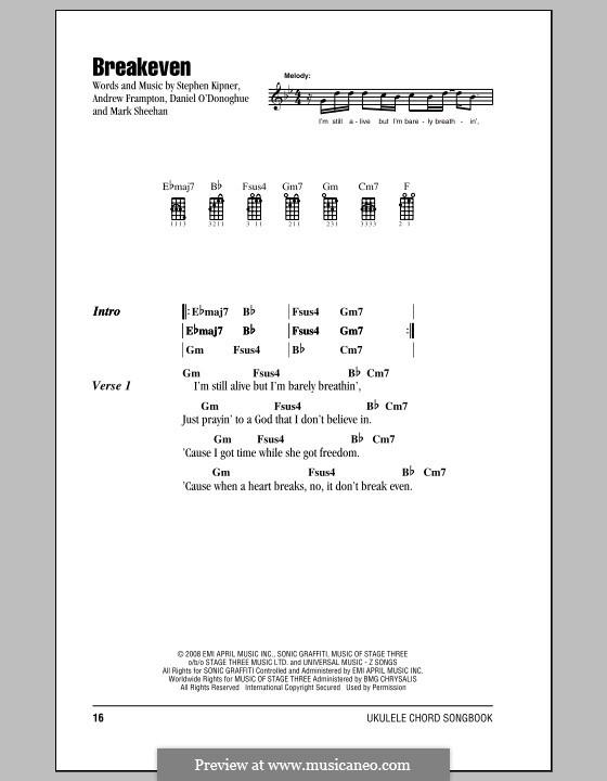 Breakeven (The Script): para ukulele by Andrew Frampton, Danny O'Donoghue, Mark Sheehan, Stephen Alan Kipner