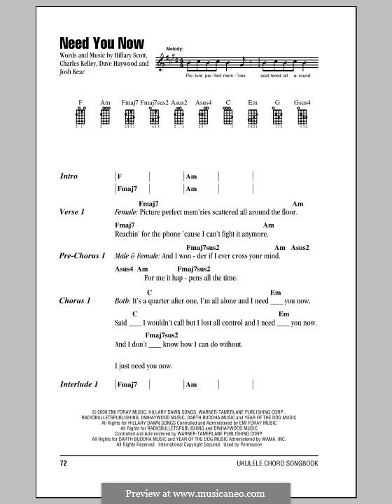 Need You Now: para ukulele by Charles Kelley, David Haywood, Hillary Dawn Scott, Josh Kear