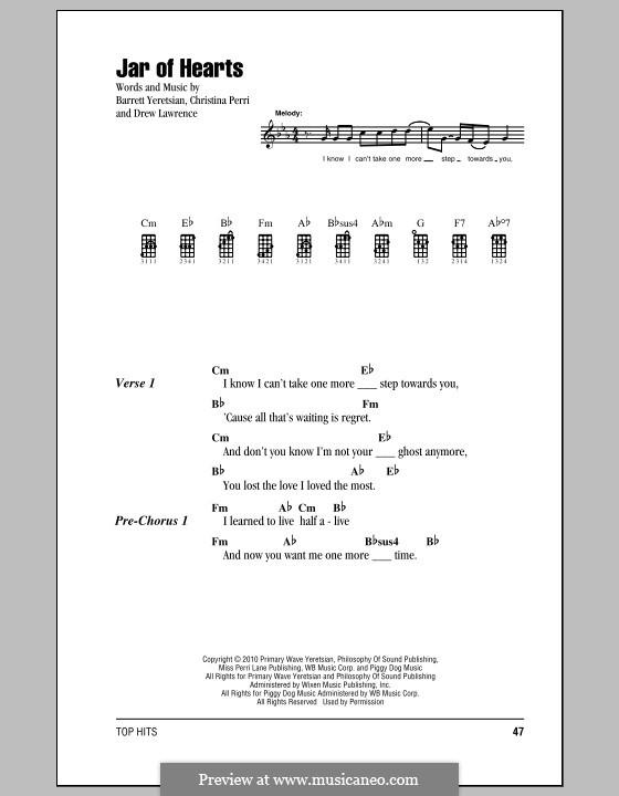 Jar of Hearts: para ukulele by Barrett Yeretsian, Christina Perri, Drew Lawrence