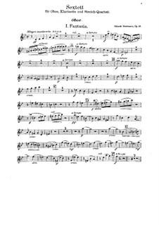 Sextet for Oboe, Clarinet and String Quartet, Op.33: partes by Eduard Herrmann