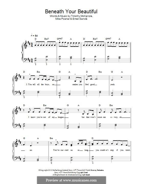 Beneath Your Beautiful: Para Piano by Emeli Sandé, Mike Posner, Timothy McKenzie