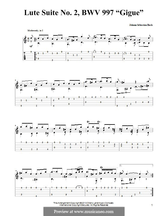 Suite for Lute (or Harpsichord) in C Minor, BWV 997: Gigue. Version for guitar with tab by Johann Sebastian Bach