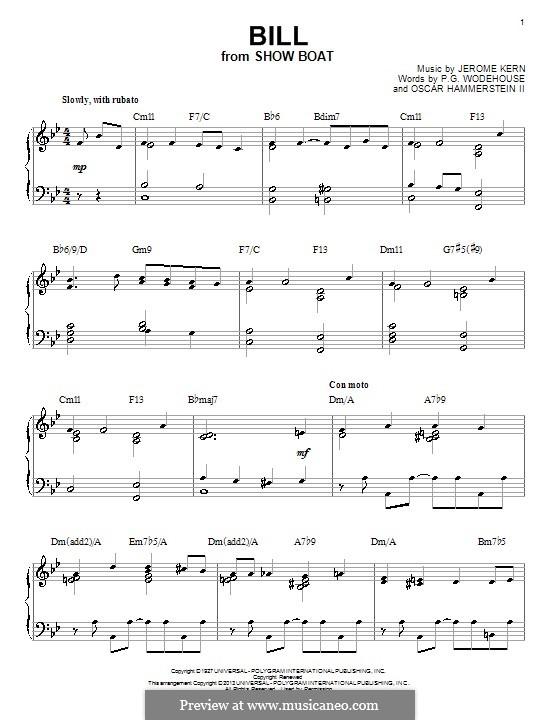 Bill: Para Piano by Jerome Kern