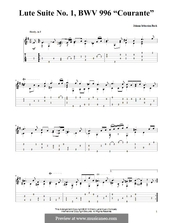 Suite for Lute (or Harpsichord) in E Minor, BWV 996: Courante. Version for guitar with tab by Johann Sebastian Bach