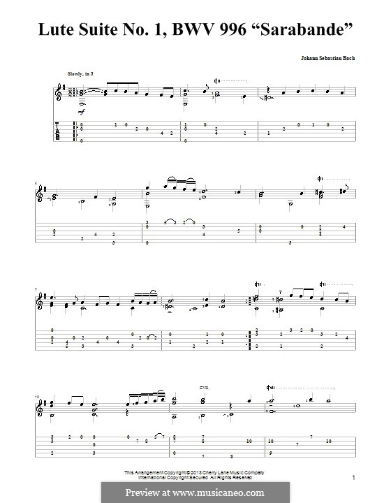 Suite for Lute (or Harpsichord) in E Minor, BWV 996: Sarabande. Version for guitar with tab by Johann Sebastian Bach