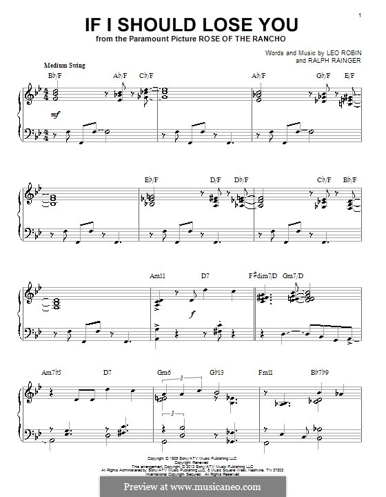 If I Should Lose You (Phineas Newborn): Para Piano by Leo Robin, Ralph Rainger