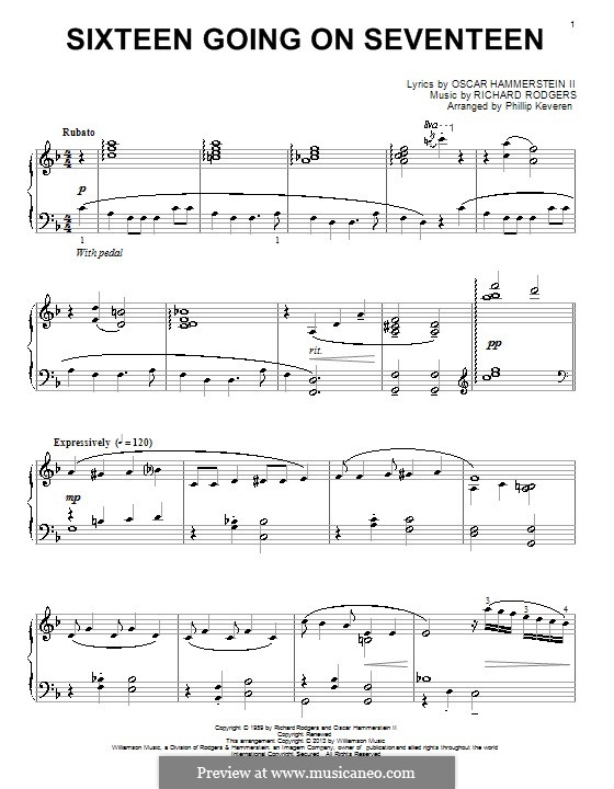 Sixteen Going on Seventeen (from The Sound of Music): Para Piano by Richard Rodgers