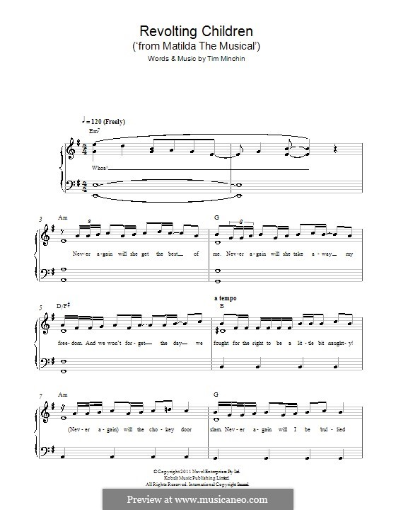 Revolting Children (from Matilda the Musical): Para Piano by Tim Minchin