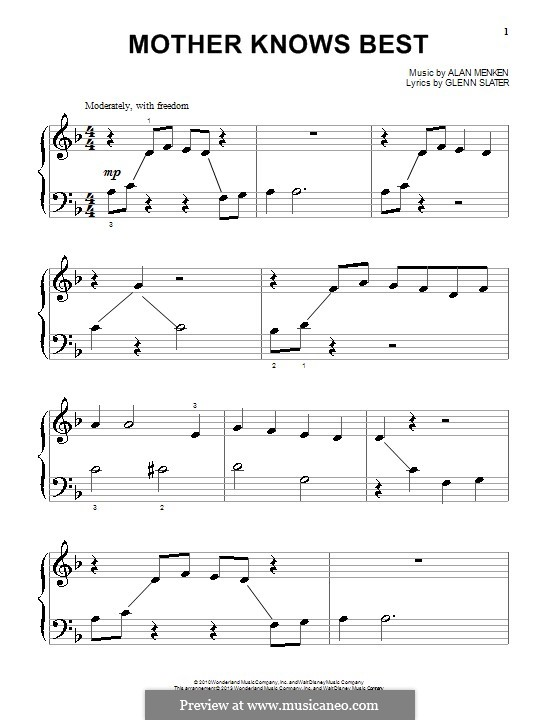 Mother Knows Best: Para Piano by Alan Menken