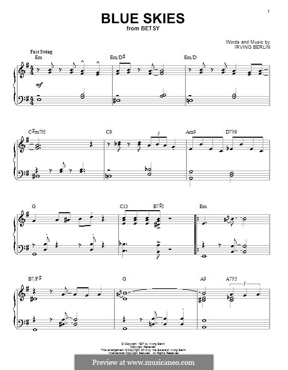 Blue Skies: For piano (jazz version) by Irving Berlin