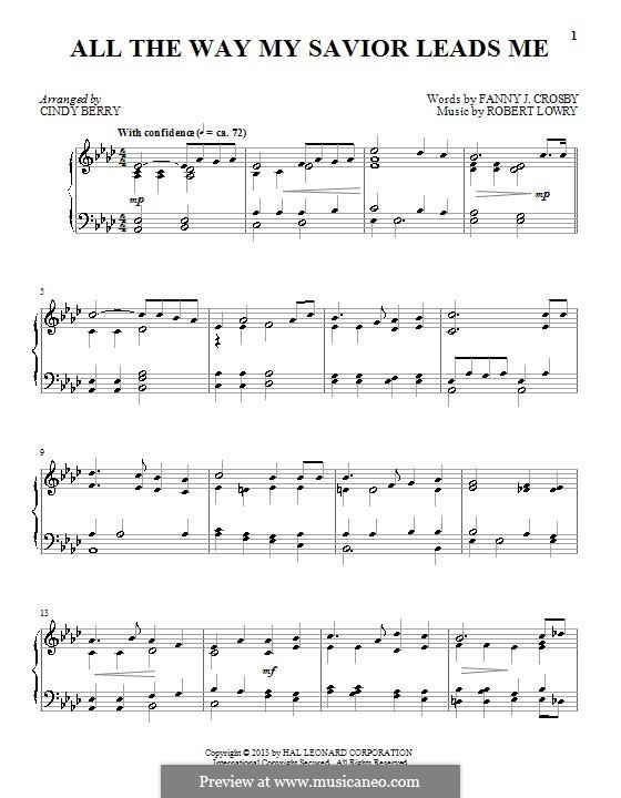 All the Way My Savior Leads Me: Para Piano by Robert Lowry