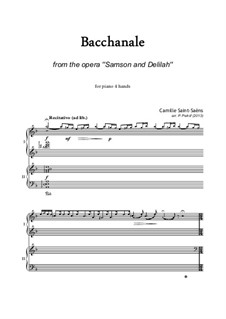 Samson and Dalila, Op.47: Bacchanalia, for piano four hands by Camille Saint-Saëns
