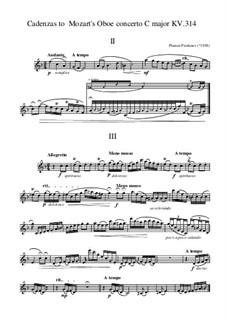 Cadenzas to Mozart Oboe Concerto KV 314: Second and third movements by Plamen Prodanov