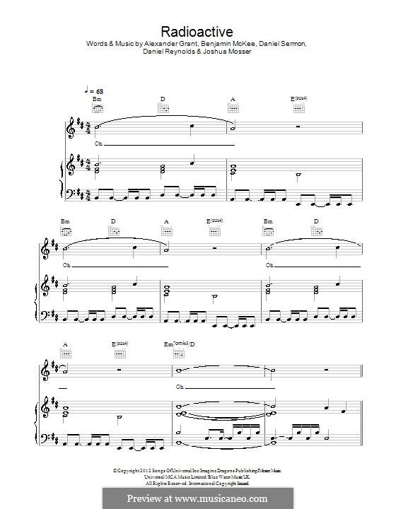 Radioactive (Imagine Dragons): Para vocais e piano (ou Guitarra) by Alexander Grant, Benjamin McKee, Daniel Reynolds, Daniel Sermon, Josh Mosser