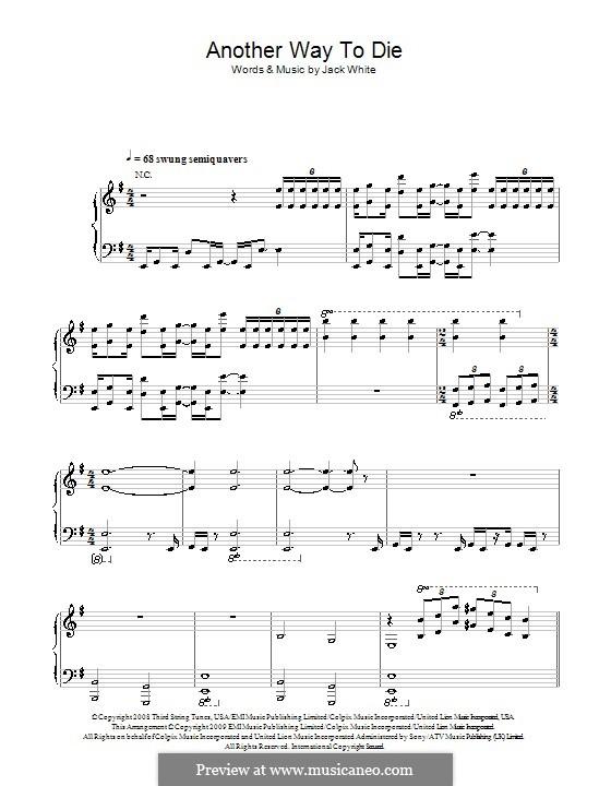 Another Way To Die (Jack White & Alicia Keys): Para vocais e piano (ou Guitarra) by Jack White