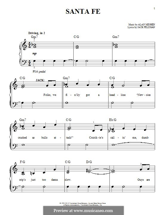 Santa Fe (from Newsies): Para Piano by Alan Menken