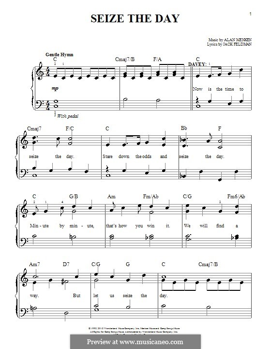 Seize the Day (from Newsies): Para Piano by Alan Menken