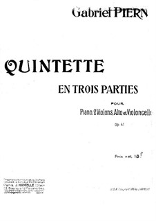 Piano Quintet in E Minor, Op.41: Partitura completa by Gabriel Pierné