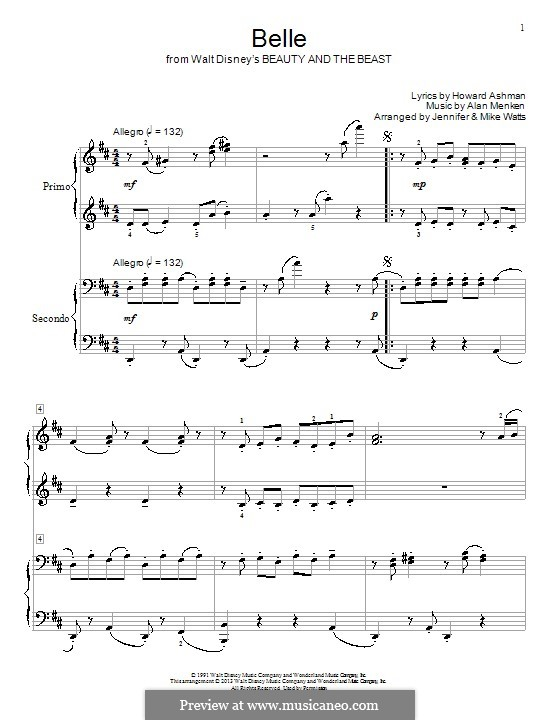 Belle (from Beauty and the Beast): para piano de quadro mãos by Alan Menken