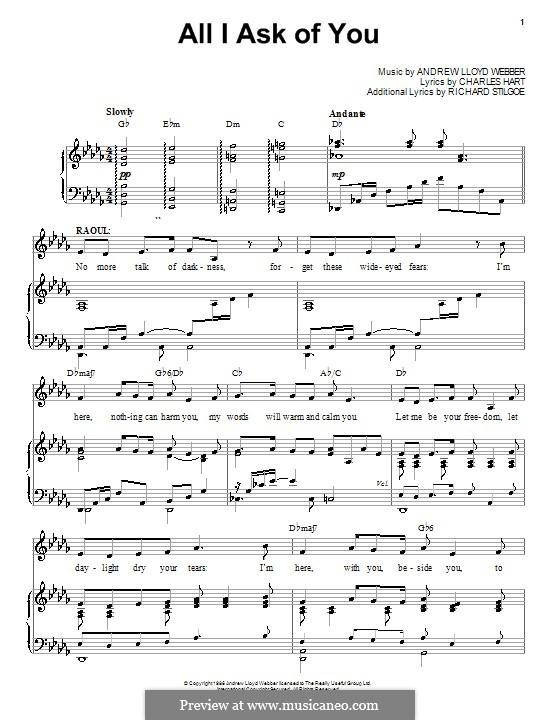 All I Ask of You: Para vocais e piano by Andrew Lloyd Webber