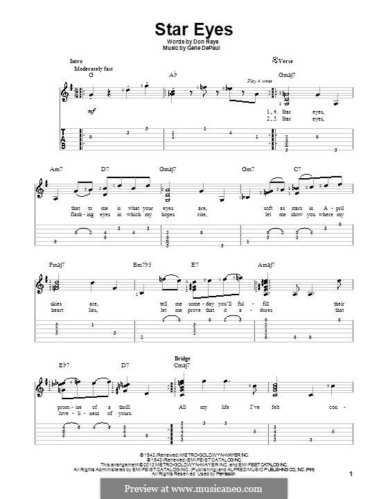 Star Eyes (Jimmy Dorsey): Para guitarra com guia by Gene de Paul