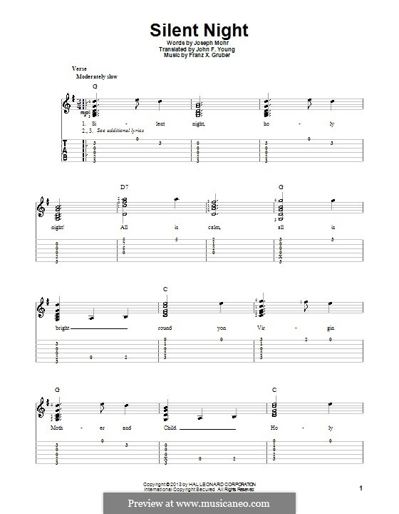 Silent Night (Printable): For guitar with tab by Franz Xaver Gruber