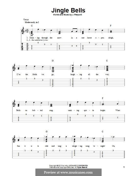 Jingle Bells (Printable scores): para guitarras com guia by James Lord Pierpont
