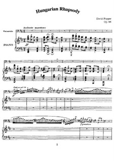 Hungarian Rhapsody for Cello and Piano, Op.68: partitura by David Popper