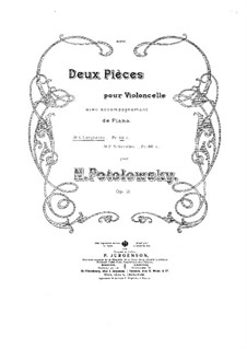 Two Pieces for Cello and Piano, Op.3: Score by Nikolai Potolovsky
