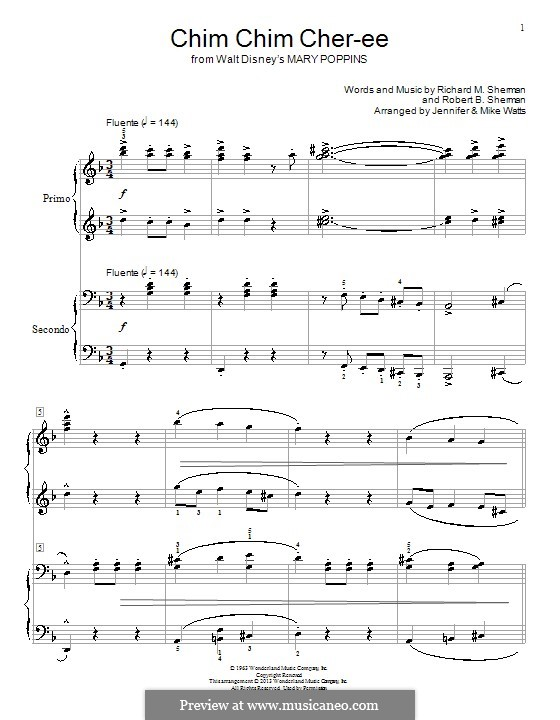 Chim Chim Cher-ee (from Mary Poppins), for Piano: For four hands by Richard M. Sherman, Robert B. Sherman
