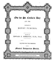 Ode to St. Cecilia, Z.328: Partitura completa by Henry Purcell