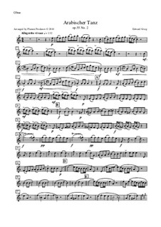 Suite No.2, Op.55: Arabian Dance, for oboe, cor anglais, violin and double bass – oboe part by Edvard Grieg
