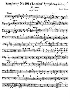 Symphony No.104 in D Major 'London', Hob.I/104: parte violoncelo e contrabaixo by Joseph Haydn