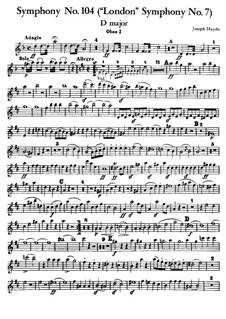 Symphony No.104 in D Major 'London', Hob.I/104: Oboe parte I by Joseph Haydn