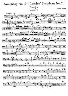 Symphony No.104 in D Major 'London', Hob.I/104: fagote parte II by Joseph Haydn