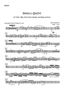 Sonata a Quattro, K.347: For oboe, bassoon, french horn, violin and double bass – bassoon part by Johann Fux