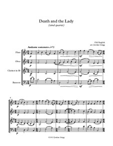 Death and the Lady: Para quarteto de sopro by Unknown (works before 1850)