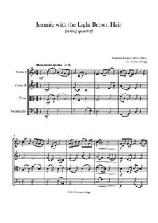 Jeanie with the Light Brown Hair: para quartetos de cordas by Stephen Collins Foster